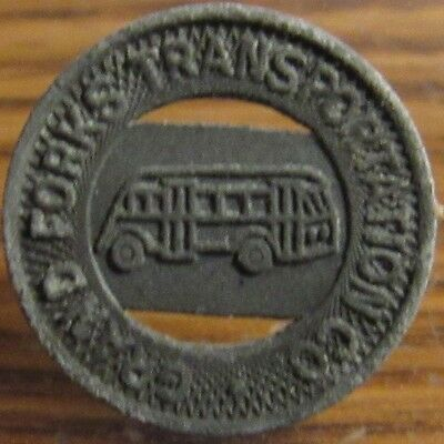 1942 Zinc Grand Forks, ND Transportation Co. Transit Bus Token - North Dakota