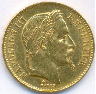 1867-Bb Gold 20 Francs *laureate Head* France, Uncirculated