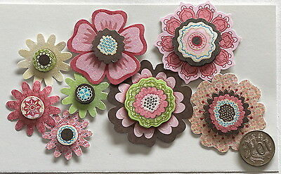 Scrapbooking No 153 - 8 Double Mounted Large And Medium Paper Flowers