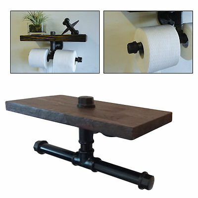 Vintage Industrial Style Iron Pipe Toilet Paper Holder Roller Wood Shelf brown