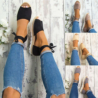 Womens Espadrille Sandals Ankle Strap Ribbon Peep Toe Summer Wedge Casual Shoes
