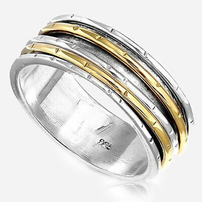 Spinner Solid 925 Silver Ring Wide Band 2 Tone Golden Men's Women's