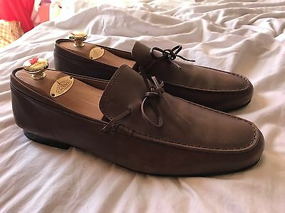 TOD'S  MEN'S Brown LEATHER LOAFERS SHOES Size 10