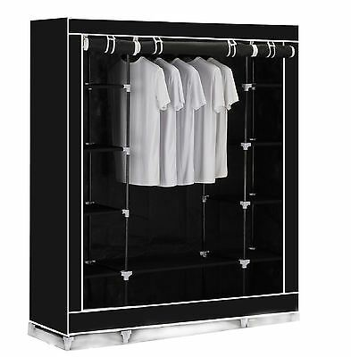 Vinsani Triple Canvas Clothes Cupboard Hanging Rail With Storage Shelves - Black