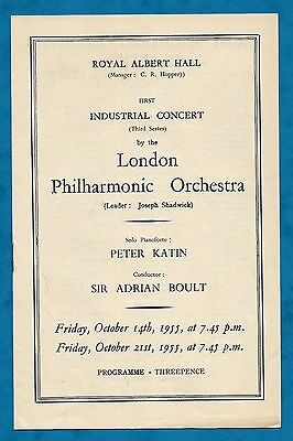 1955 Programme London Philharmonic Orchestra Royal Albert Hall Sir Adrian Boult