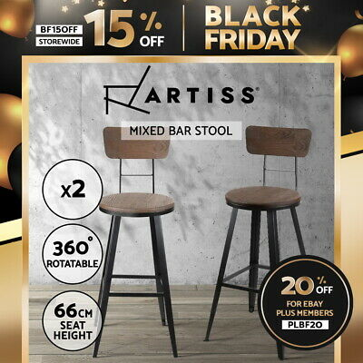 2x Vintage Rustic Bar Stool Retro Swivel Barstool Industrial Dining Chair 66cm