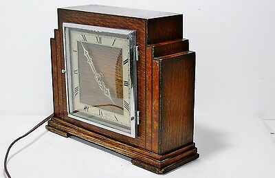 Art Deco 1930's Temco Oak and Burr Walnut electric mantel clock working order