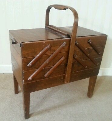 Large Norweigan Cantilever Vintage / Retro Wooden Sewing Box