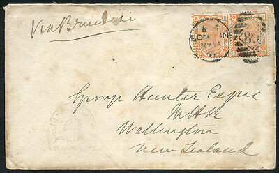 1877 envelope from London to New Zealand via Brindisi, franked 8d orange pair