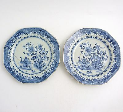 Pair 18Th Century Chinese Blue And White Octagonal Porcelain Plates