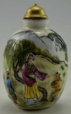 18 Century Antique Vintage Old Porcelain Hand Carved Painted Mother Play Son Snu