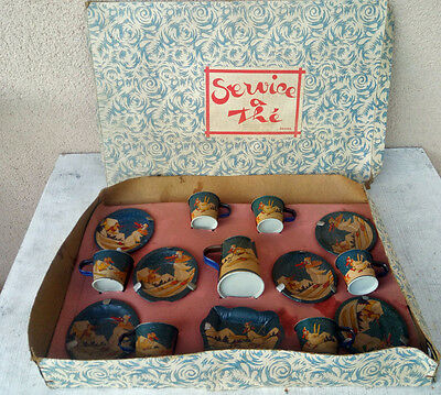 antique French doll TEA SET orignal  box tin  adorable  litho duck  playing ..
