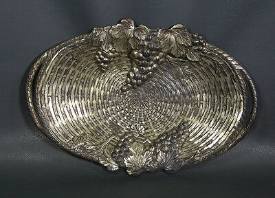 Vintage Pewter Cookie Cake Fruit Tray Japan Grapes Vines silver-plate Home Decor