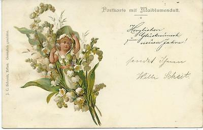 Fairy Child in Lily of the valley.  Early J.C. Schmidt Perfumed card