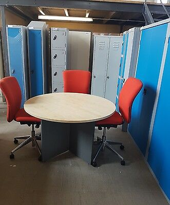 Used boardroom conference meeting table and 3used orange box chairs
