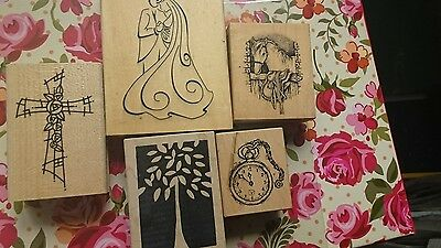 job lot of wood backed rubber stamps