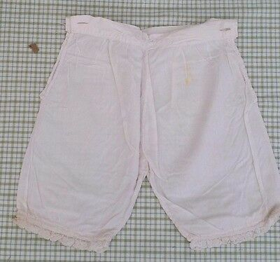 Sweet Vintage Girls Bloomers~ White Tissue Cotton/ Silk~ Hand Stitch~ Has Flaw