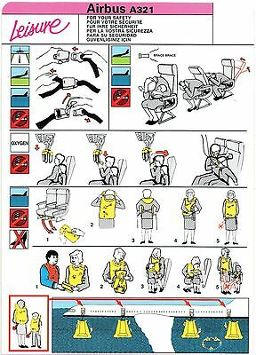 Leisure Airbus A321 Safety On Board Card