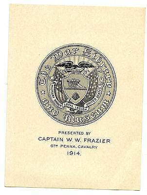 Captain W W Frazier 1914 Bookplate Engraving Etching 6th Pennsylvania Cavalry