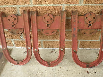 VINTAGE  3 Old BARN DOOR ROLLERS HANGER Steel  Cast Iron Roller Wheels Nice