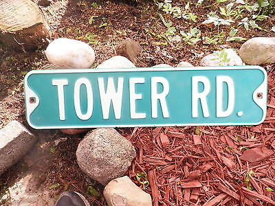 Vintage Embossed metal city street sign TOWER RD   steel green original retired