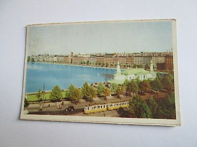 Postcard of Copenhagen. View at the Peblinge Lake (Denmark) posted 1968