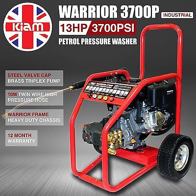 Petrol Pressure Washer Cleaner Kiam Warrior 3700P 3700PSI / 255 Bar Commercial