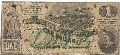 1862 $1 Dollar Confederate Currency Banknote Note Money Bill Cash Green One Rare