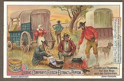 Pre  Boer War Transvaal Gold Miners Camp Wagons c1896 Trade Ad Card