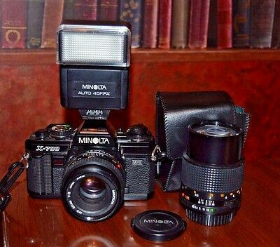 Minolta X-700 MPS 35mm SLR Film Camera with Two Lenses and Flash