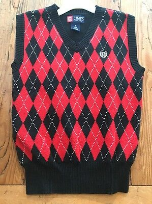CHAPS Vest Boys Size 7 RED Argyle Knit Sweater