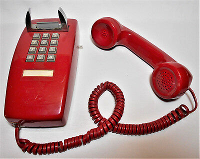 ITT Pushbutton Red Wall Telephone - TESTED GOOD WORKING
