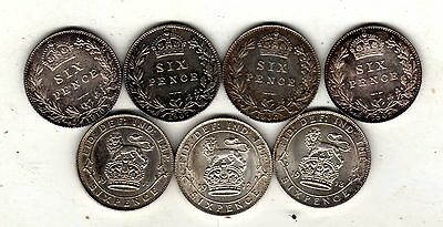 7 x sixpence all very high grade,toned,1902-06-07-1910-11-12-13