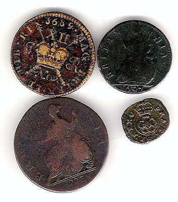 4 x base coins,1689 shilling gunmoney 1697 and charles farthing.1773 halfpenny