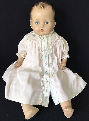 "21"" Composition & Cloth Baby Doll W/tin Eyes, 1940'S"