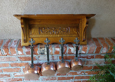 SET of 4 Vintage Belgium COPPER POT w Carved Tiger Oak Wall Shelf Coat Hat Rack.