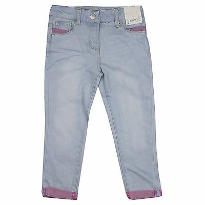 Girls Jeans Adjustable Waist Ex Uk Store Light Blue Wash 1-8 Years New