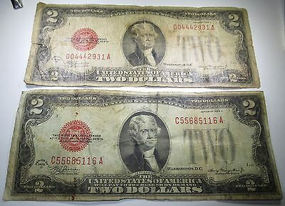 Lot of 2 1928 U.S. Two Dollar Bills 2 US Paper Notes Antique Currency Collection