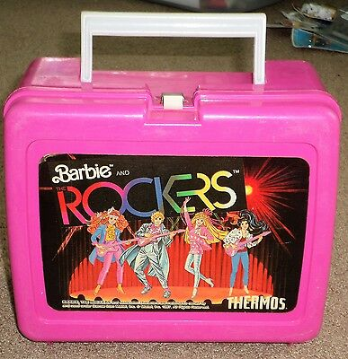 Vtg Plastic Hot Pink Thermos Brand Barbie and the Rockers School Lunch Box Kit