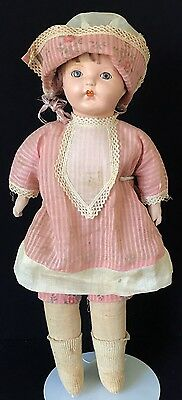 """17"""" Ideal Composition & Cloth Doll W/tin Eyes, Pink Dress, 1930'S"""