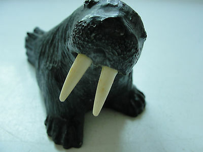 Black walrus decorative figurine,wildlife sea animal hand carved from wood
