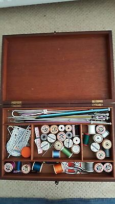 Antique wooden sewing Box with content