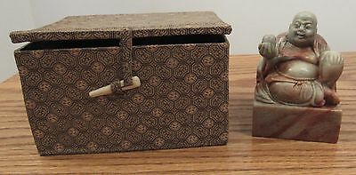 Vintage Chinese large hard stone carved buddha chop seal stamp/silk box 3.5""