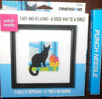 Dimensions Punch Needle Kit, Black Kitty Cat in Window,+ Punch Needle NIB
