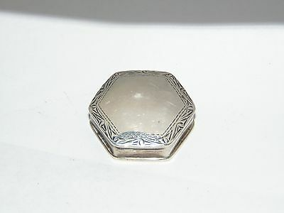 SWEET LITTLE 925 STERLING SILVER PILL BOX HEXAGON SHAPE with ENGRAVED DESIGN