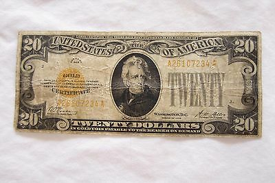 Series of 1928 $20 Gold Certificate  -  Circulated
