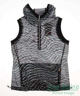 New Womens EP Pro Pluto Celestial Wave Golf Vest Medium M Black MSRP $118