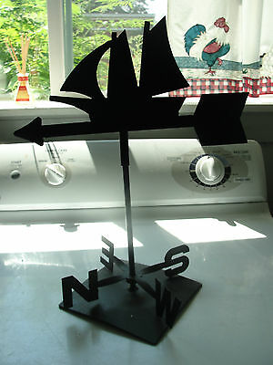 Nautical iron decorative weathervane, arrow with sailboat,lake or river black