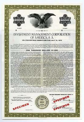 Investment Management Corp. of America, S.A., 1970 Specimen Bond