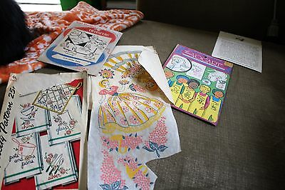 lot vintage embroidery transfers